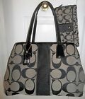 COACH BLACK SIGNATURE STRIPE FRAMED CARRYALL 55600 F13533  LG WALLET SET