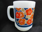 VINTAGE 1960s-70s ANCHOR HOCKING FIRE KING COFFEE MUG CUP FLORAL FLOWER PATTERN