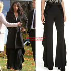 Alice+Olivia WALLACE SIDE RUFFLE Flared PANT High Waist in black new AUTH 395