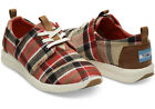 New Womens TOMS Red Tan Del Rey Plaid Lace Up Sneakers Shoes Size 8 W