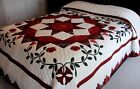 NEW AMISH QUILT HANDMADE FROM LANCASTER PA LONE STAR TULIPS 104x112