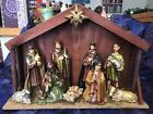VINTAGE MANGER NATIVITY SCENE FIGURES Made in Italy CHRISTMAS CRCHE EUC