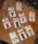 9 Primitive Country Rustic Sheep Hearts Salt Box Hang Tags Gift Ties Ornies