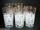 Anchor Hocking Americana Vintage Tumblers Drinking Glasses Gold Hats Eagles 6 pc
