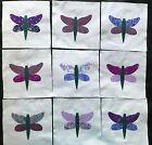9 Fabric Quilt Top Blocks 6 Inch Square Purple  Lavender Dragonfly Appliques