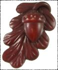 Vintage Realistic Celluloid Oak Leaf Button w Acorn Extruded Stem
