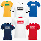 Oasis Band Logo Supersonic Gallagher Noel Liam Brit Pop Beady Eye Ringer T Shirt