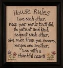 HOUSE RULES Stitched Sign Primitive Antique Home wall Decor gift