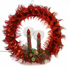 Christmas 1500 RED CELLOPHANE WREATH Plastic Vintage Mid Century Halo Ta456