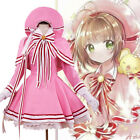 Cardcaptor Sakura Clear Card Cover Fight Cosplay Costume Pink Dress Women Stock