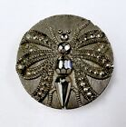 Medium black glass button featuring a lovely butterfly in silver luster. Pretty!