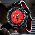 DETOMASO Firenze Mens Watch Chronograph Stainless Steel Black Red Leather New