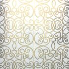 1960s Geometric Vintage Wallpaper White and Metallic Gold Design