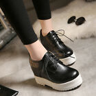 Hot Womens Faux Leather Lace Up Wedge Sneakers Round Toe Sport Platfrom Shoes
