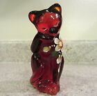 2011 Fenton Glass Ruby Handpainted Grooming Cat
