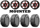 Kit 4 Maxxis Carnivore Tires 28x10-14 on STI HD7 Red Wheels IRS