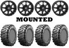 Kit 4 Maxxis Carnivore Tires 28x10-14 on STI HD6 Matte Black Wheels IRS