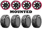 Kit 4 Maxxis Carnivore Tires 28x10-14 on STI HD5 Beadlock Pink Wheels IRS