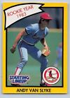 1990  ANDY VAN SLYKE - Kenner Starting Lineup Card - ST. LOUIS CARDINALS - (Y)