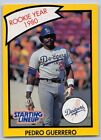 1990  PEDRO GUERRERO - Kenner Starting Lineup Card - LOS ANGELES DODGERS - (Yel)