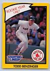 1990  TODD BENZINGER - Kenner Starting Lineup Card - BOSTON RED SOX - (Yellow)