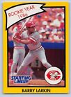 1990  BARRY LARKIN - Kenner Starting Lineup Card - CINCINNATI REDS - (Yellow)
