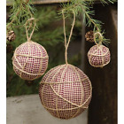 Primitive Country Lot of 3 - Rag Balls Hanging w/ Jute 3 Sizes Gingham Burgundy