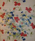 Flower floral vintage red blue green yellow on bright white wallpaper