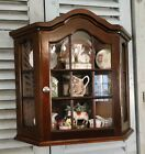 Antique French Country Wall Display Curio Cabinet ~ Divided Glass - Mahogany