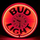 1992 BUD LIGHT BEER Round RED NEON Clock SIGN w METAL FACE Must See WOW