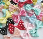 40pcs Satin Ribbon Bows Flowers w Dot DIY Sewing Appliques Crafts RB134