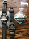 2 Vintage Timex Ironman Watches NOS & Used Working & For Parts w/ Stand Clinton