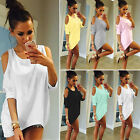 US Womens Cold Shoulder Loose T Shirt Short Sleeve Casual Summer Tops Blouse Tee