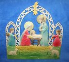 VIintage German Nativity Manger Scene Embossed Die Cut Christmas Calendar Top