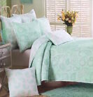 MINT GREEN SEA GLASS PAISLEY FLOWERS WHITE SHABBY COTTAGE CHIC TWIN QUILT SET