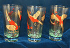 Hazel Atlas red, gold, black, and green pheasant highball glasses set of 3