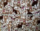 fabric flannel Cats with Pink hats yarn and Bows 18 x 38
