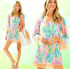 Lilly Pulitzer Getaway Cover Up Fringe Multi Fan Sea Pants Linen Tunic Dress