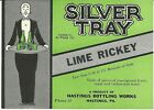 Vintage Silver Tray Lime Rickey Label Hastings Bottling Works Hastings Pa