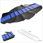 One Blue Soft Double Stitched Rubber Motorcycle ATV Seat Cover Cushion Universal