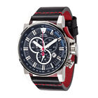 DETOMASO BOTTONE Mens Watch Chronograph Stainless Steel Black Leather Strap New