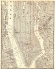 1941 Antique MANHATTAN MAP Vintage New York City Map Black and White 4962