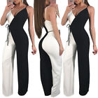 Women sleeveless Black and white color wide legs casual club party long jumpsuit