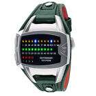 DETOMASO Tecpunk Mens Watch Binary-Look LEDs Stainless Steel Green Leather New