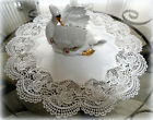 Classic Rose Lace Doily European Round 16 Table Topper antique White
