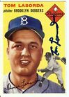 Tommy Lasorda Signed Baseball Card 1954 Topps Autographed RC Rookie Dodgers COA