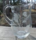 Vintage Etch Clear Glass Creamer With Flowers. Pitcher. Kitchen Set. Home Decor