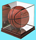 ULTRA PRO PREMIUM UV GLASS & CHERRY WOOD BASKETBALL Display Case Ball Holder