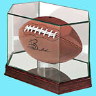 ULTRA PRO PREMIUM UV GLASS & CHERRY WOOD FOOTBALL Display Case Ball Holder NFL