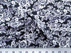 Discount Fabric Challis Rayon Apparel Gray Black and White Rose Floral F306